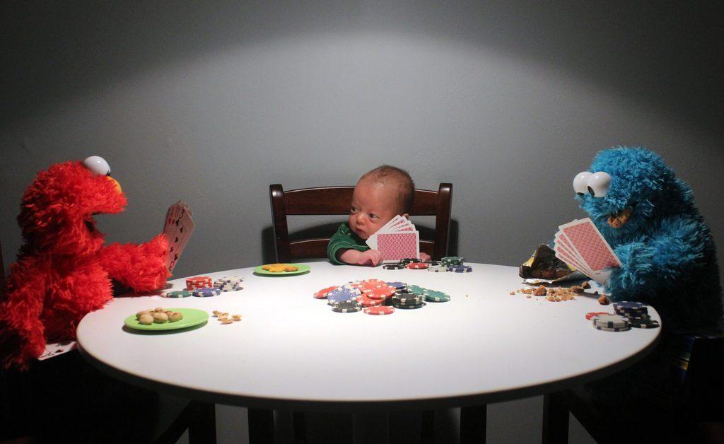 baby playing poker