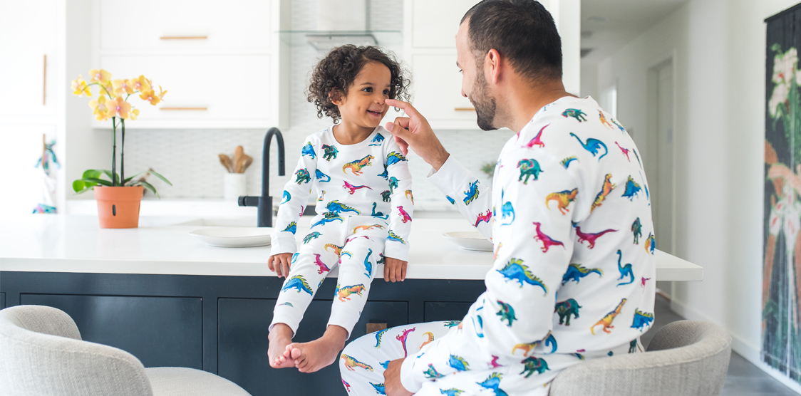 Father & daughter in pajamas