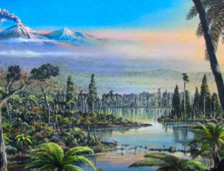 An imaginative rainforest scenery