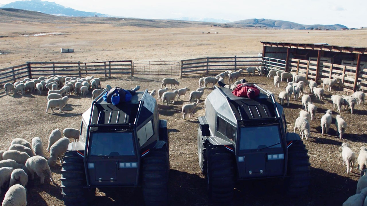 Farmland with farming vehicles and sheep