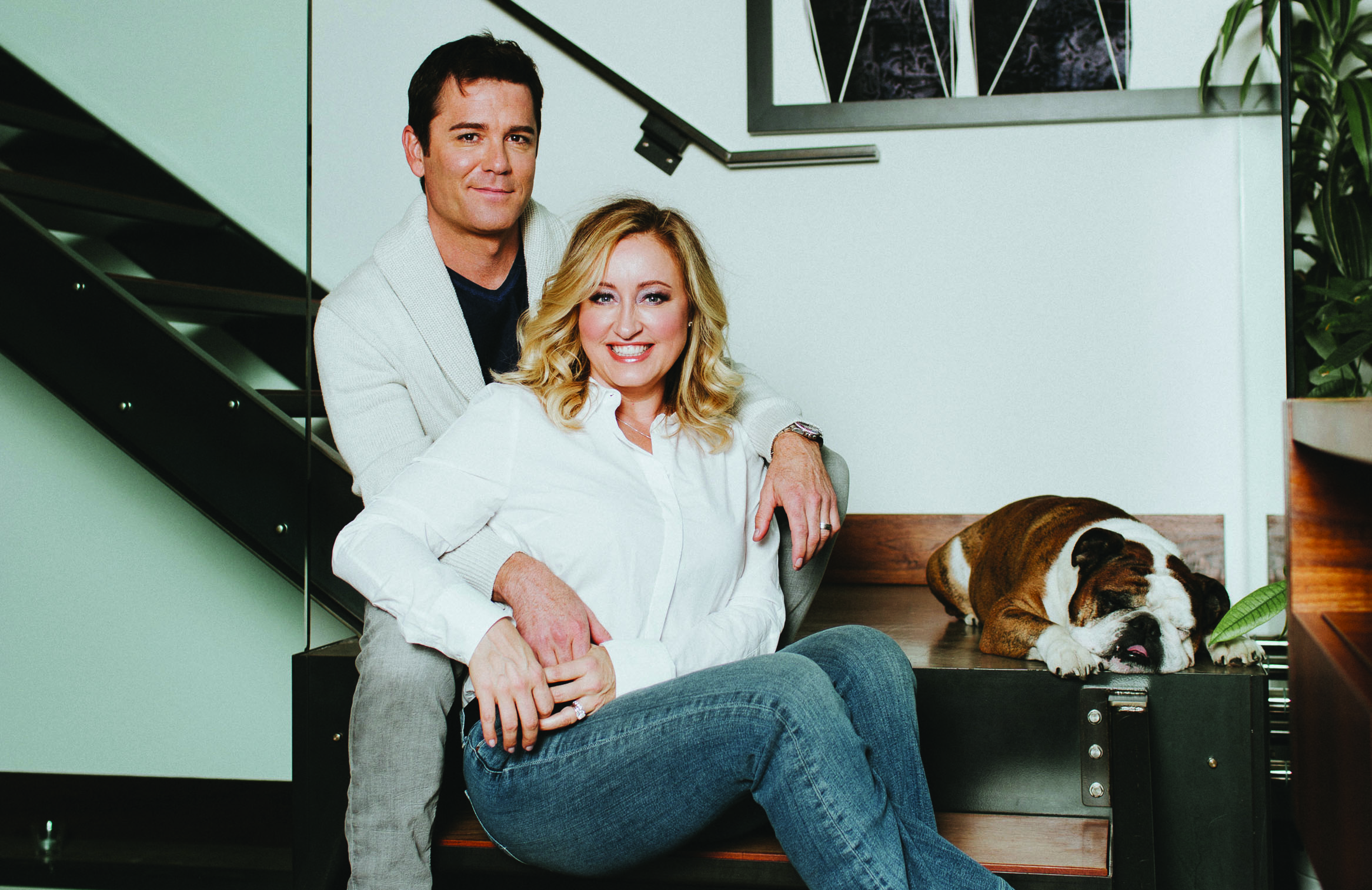 Yannick Bisson pictured smiling with his wife