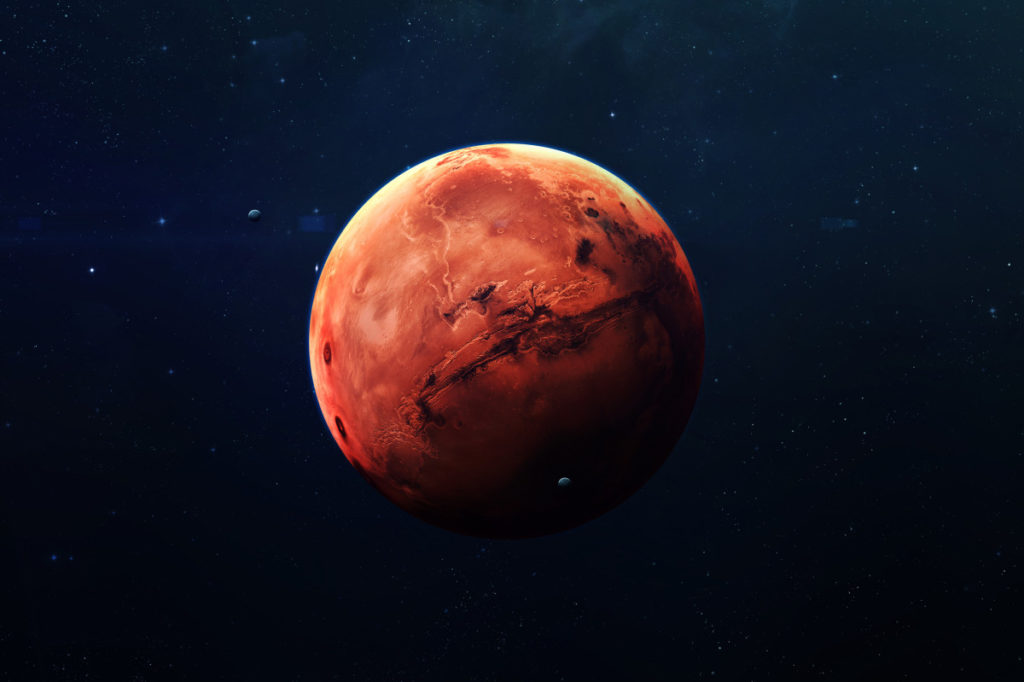 The planet Mars from afar