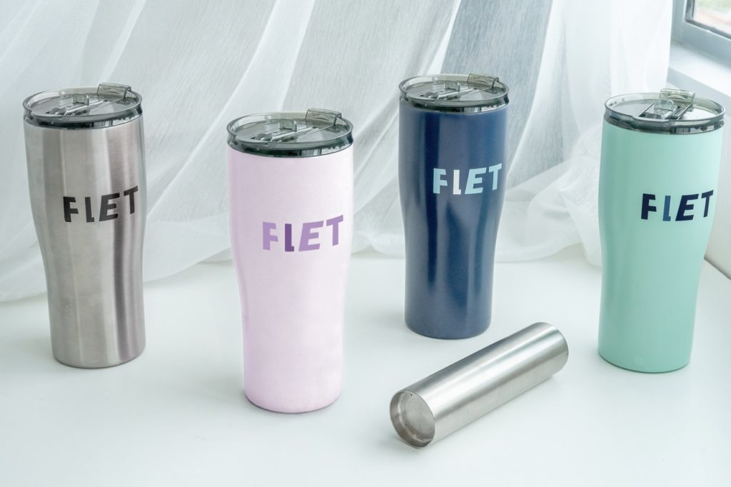 A picture of 4 tumblers with different colors