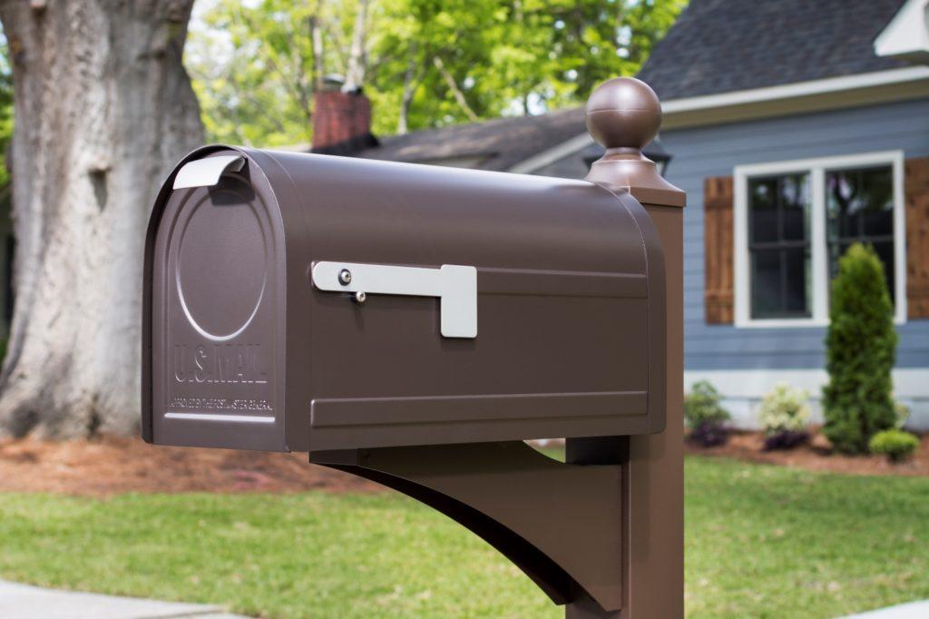 A brown mailbox