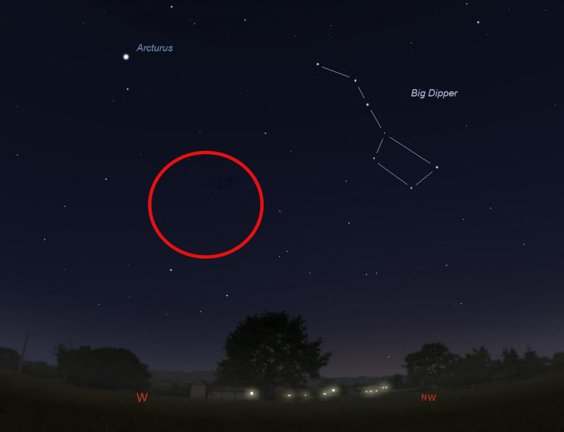 Sky Map - Big Dipper, Arcturus, Noewise