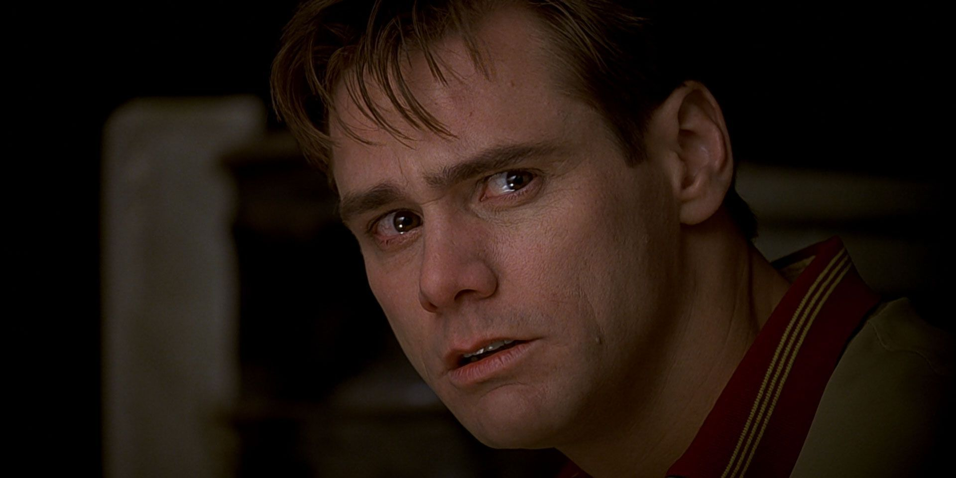 Jim Carrey, tear-eyed during a movie scene