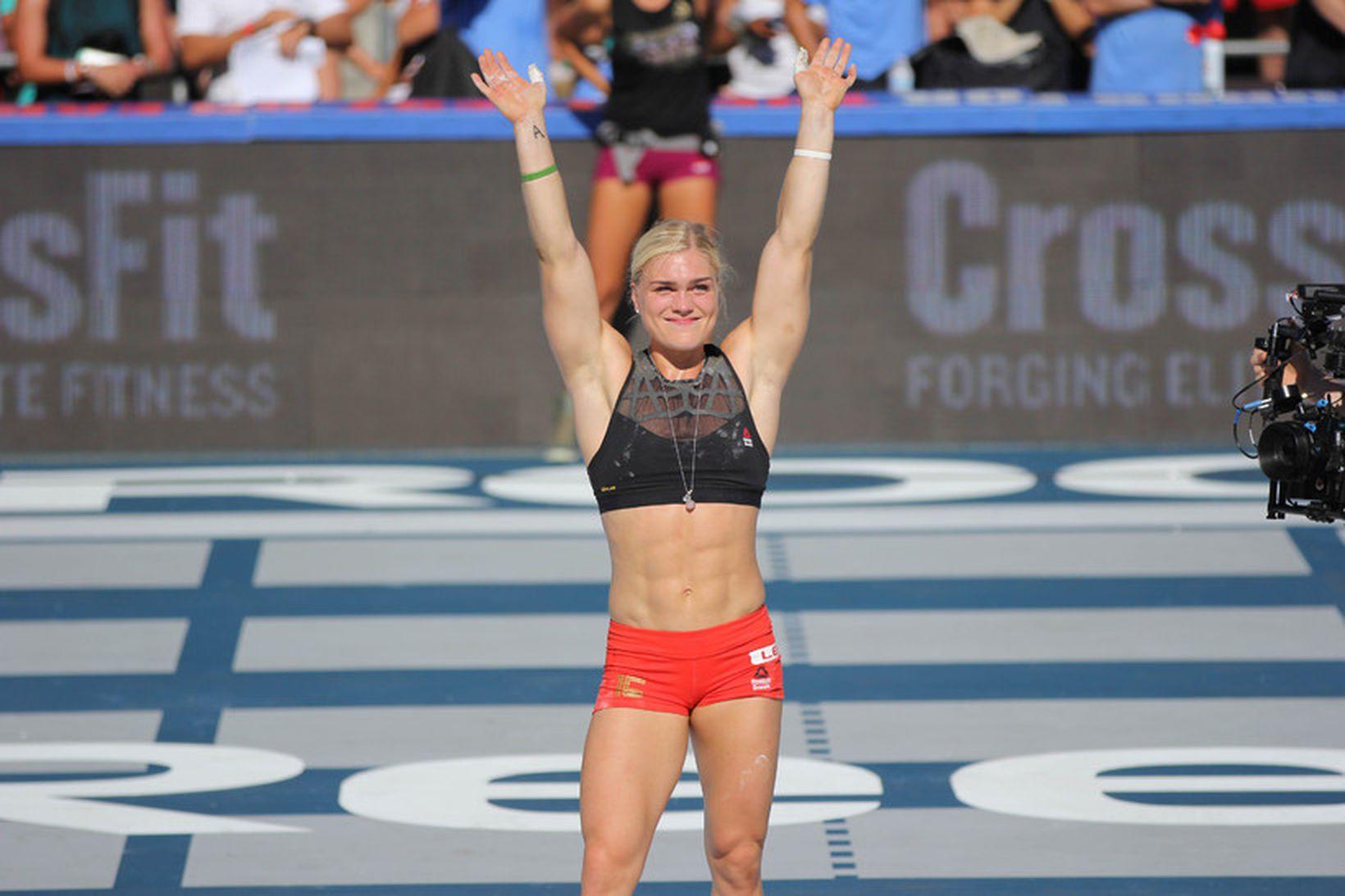 Katrín Tanja Davíðsdóttir on the CrossFit podium