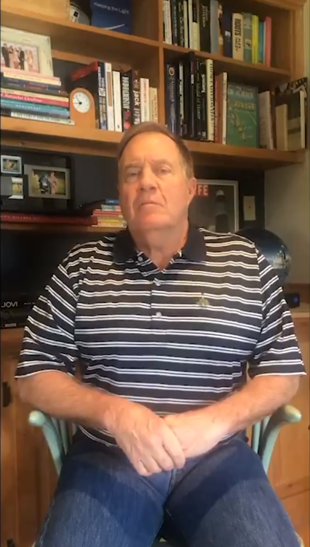Bill Belichick during a video call from his home wearing a polo shirt and denim jeans