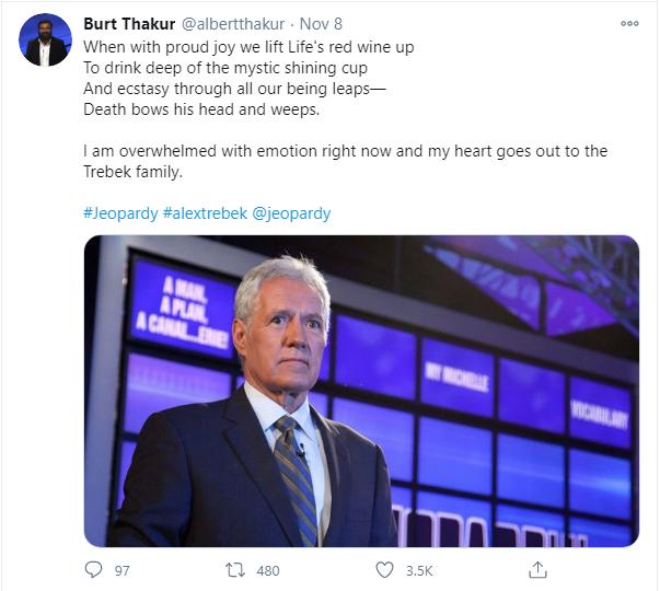 Burt Thakur's Twitter post after news of Trebek's passing