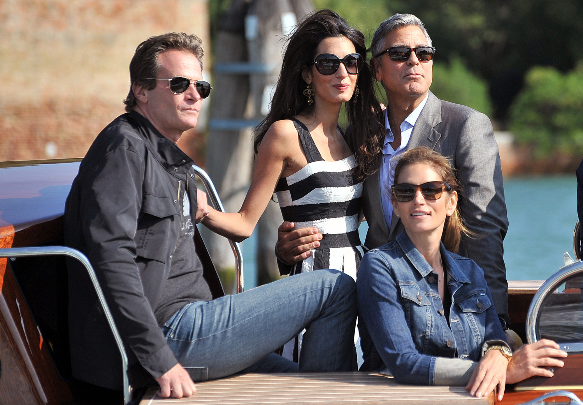 George Clooney with his wife, Amal Clooney and two of their celebrity friends