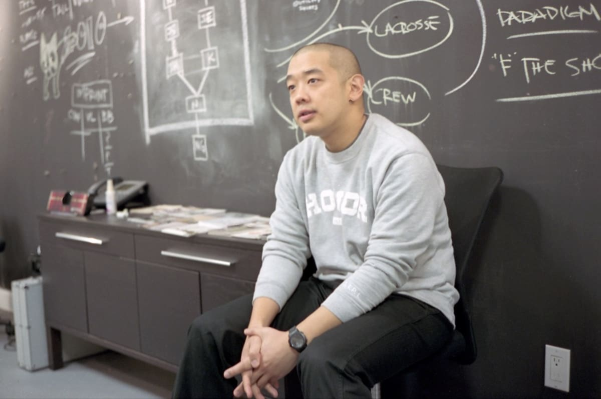 Jeff Staple giving a lecture in New York City