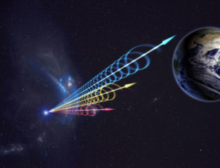 A depiction of radio transmission to Earth