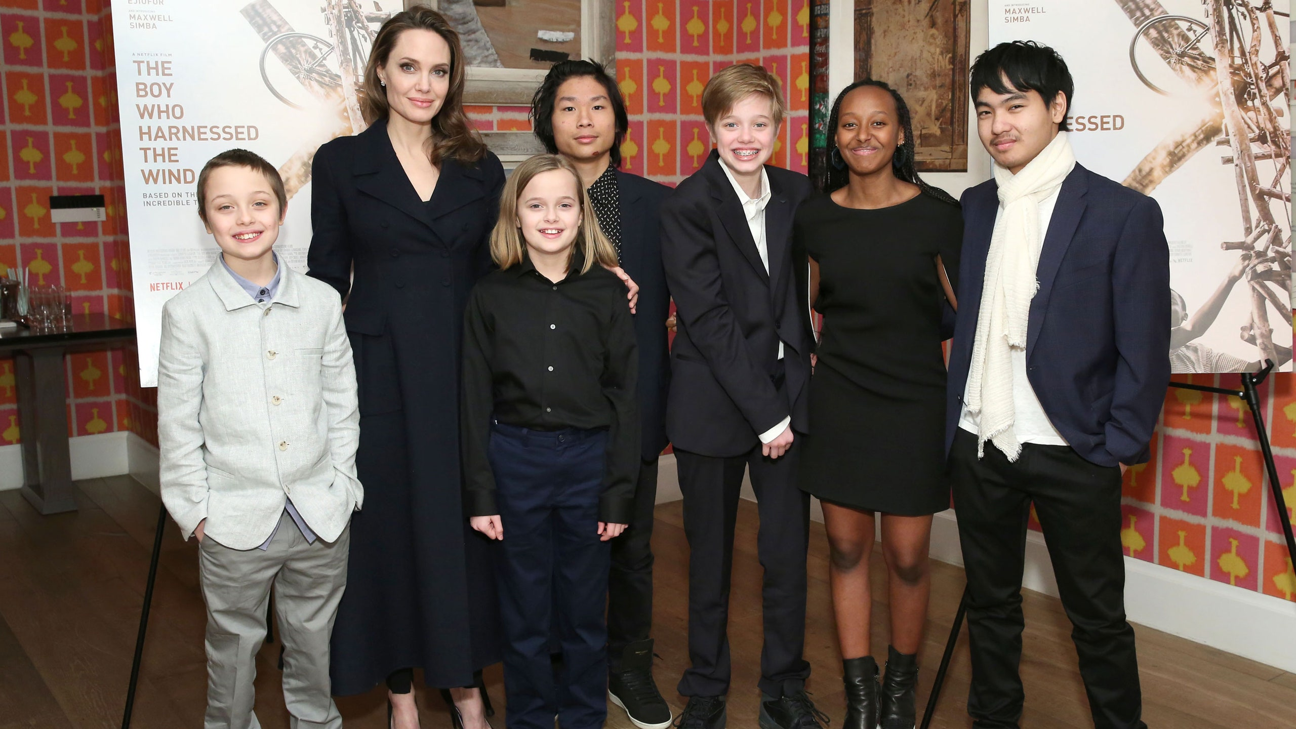 Angelina Jolie with her six children (whom she shares with ex-husband Brad Pitt)
