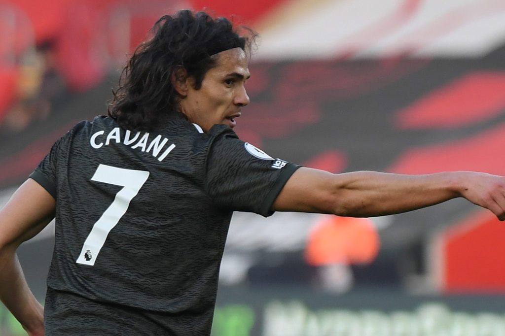 Cavani with the legendary number seven on his back