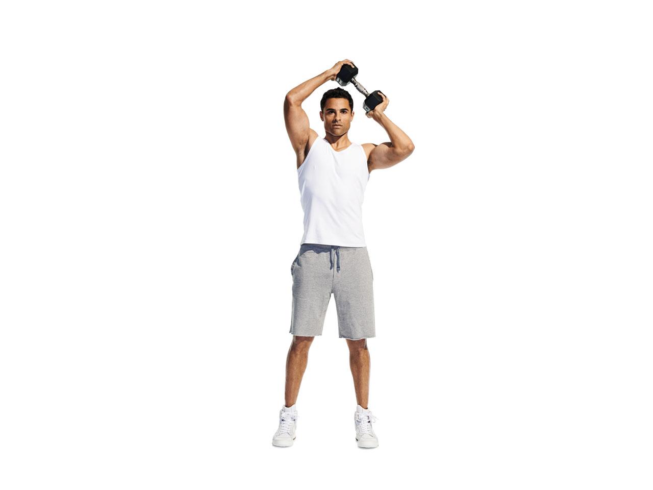 Man doing a shoulder halo workout