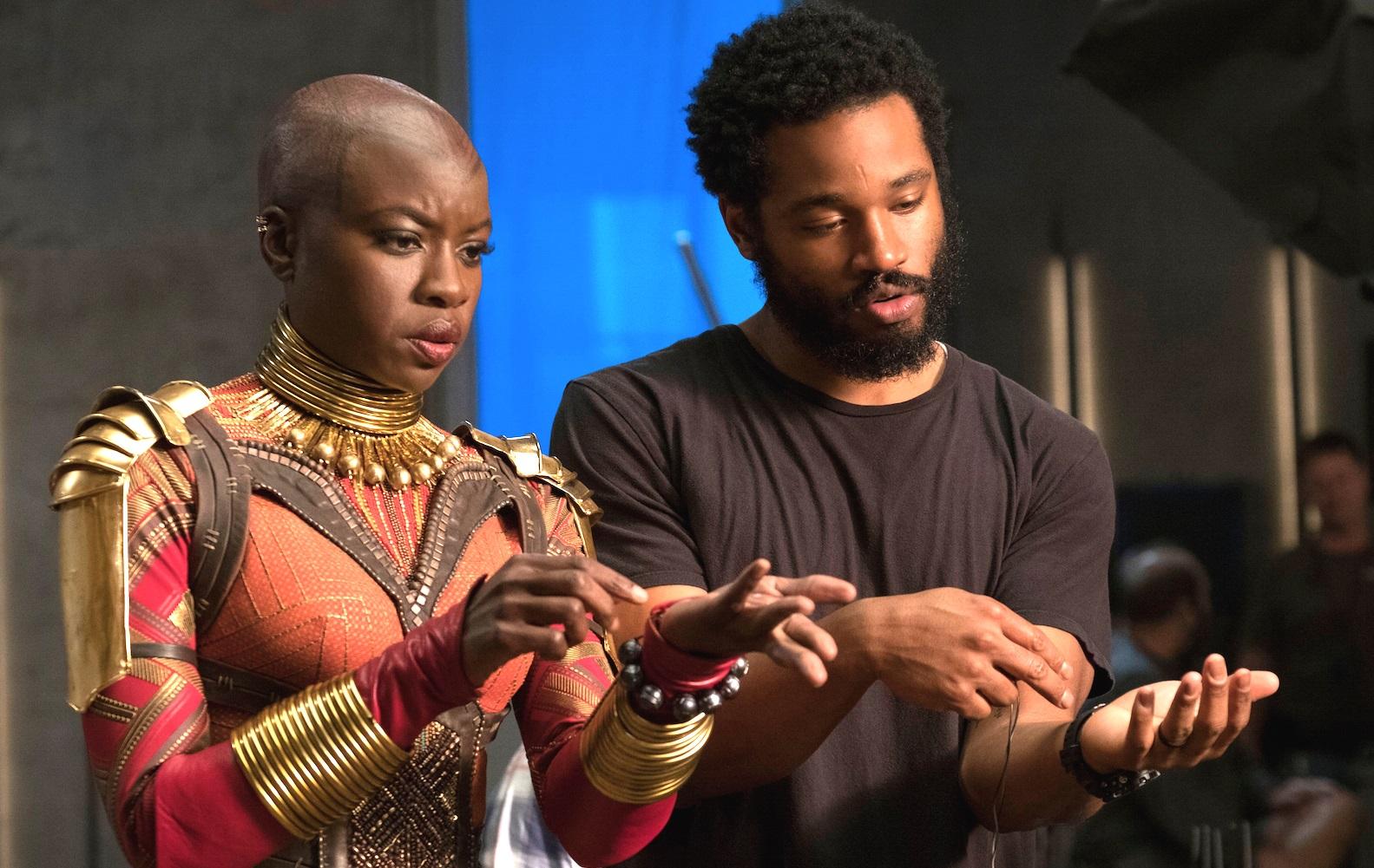 Ryan Coogler on the set of Black Panther with Lupita Nyong'o's character Nakia