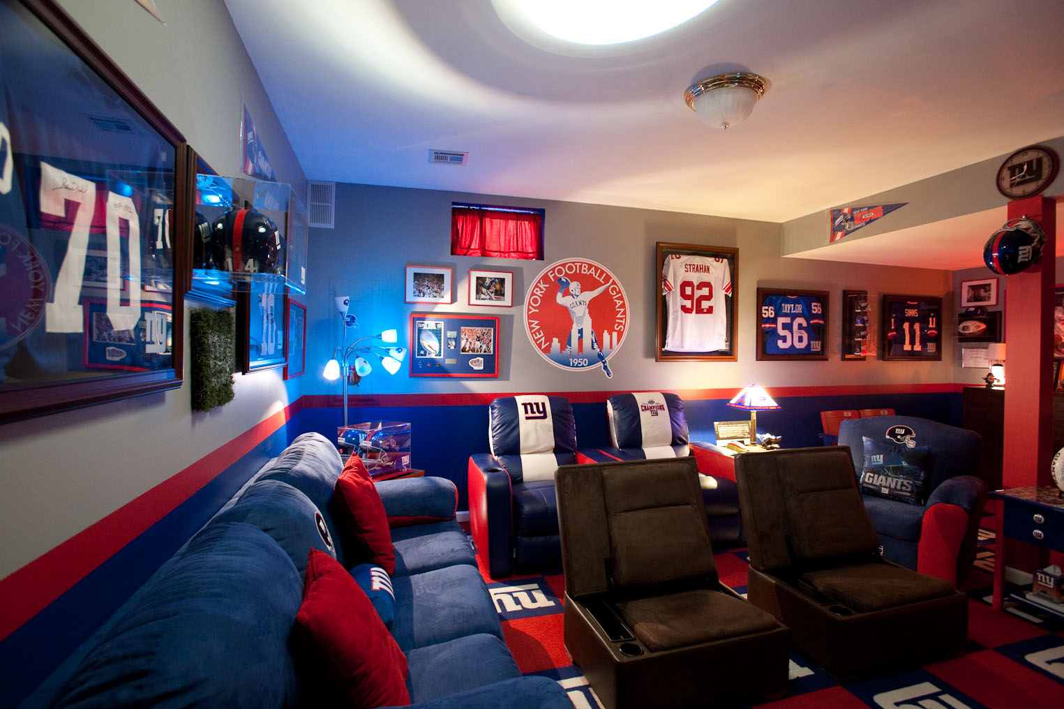 A sports-themed man cave