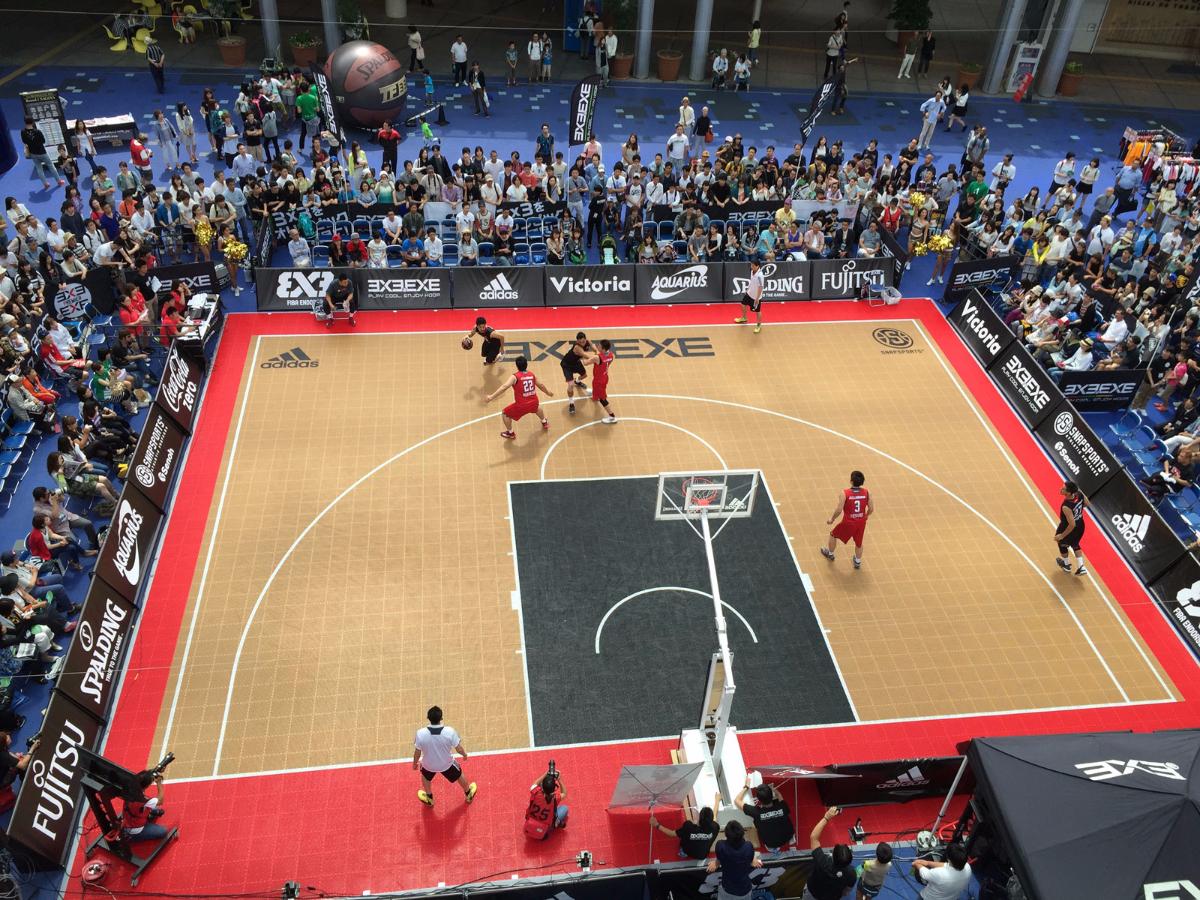 Bird's view of a 3x3 basketball court.