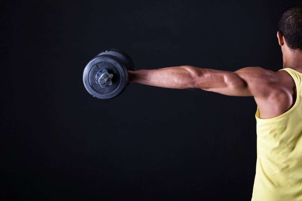 Man holding a dumbbell