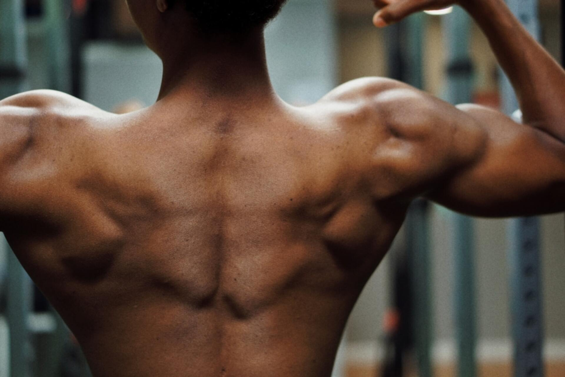 Man showing his shoulder muscles
