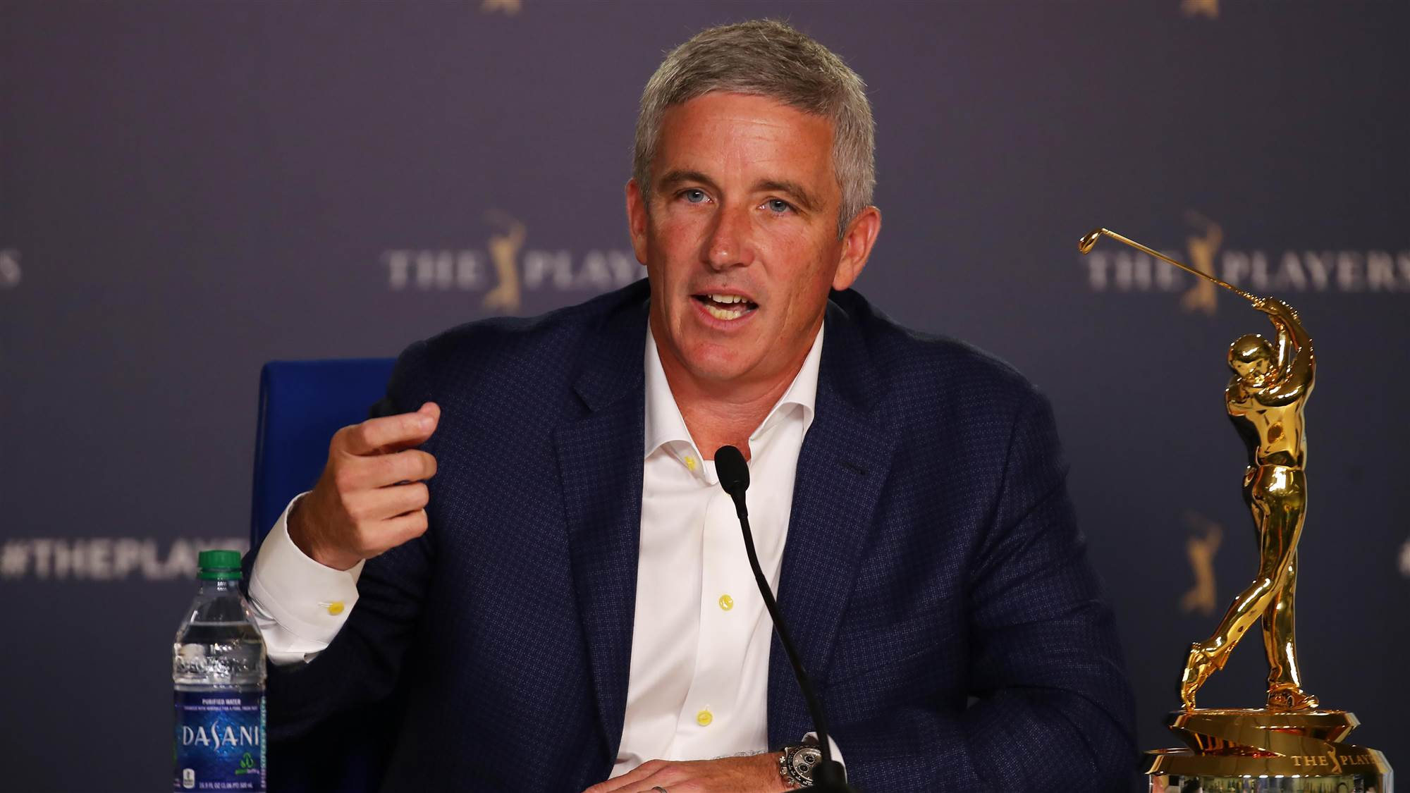 PGA Tour commissioner, Jay Monahan during a press conference with the media.